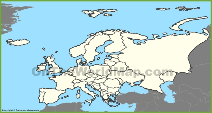 Outline blank map of Europe