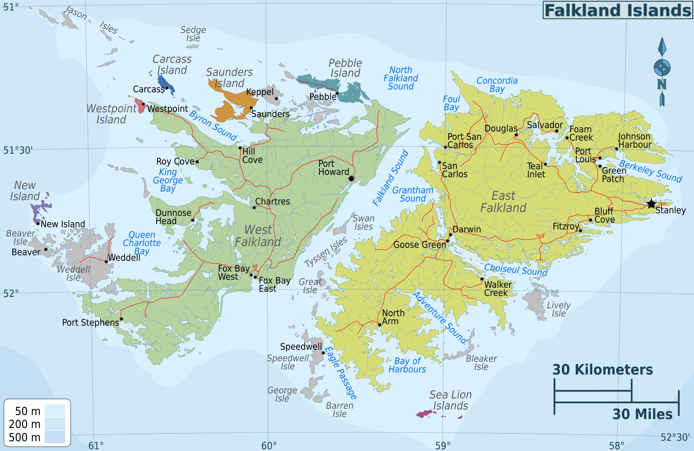 Administrative map of Falkland Islands