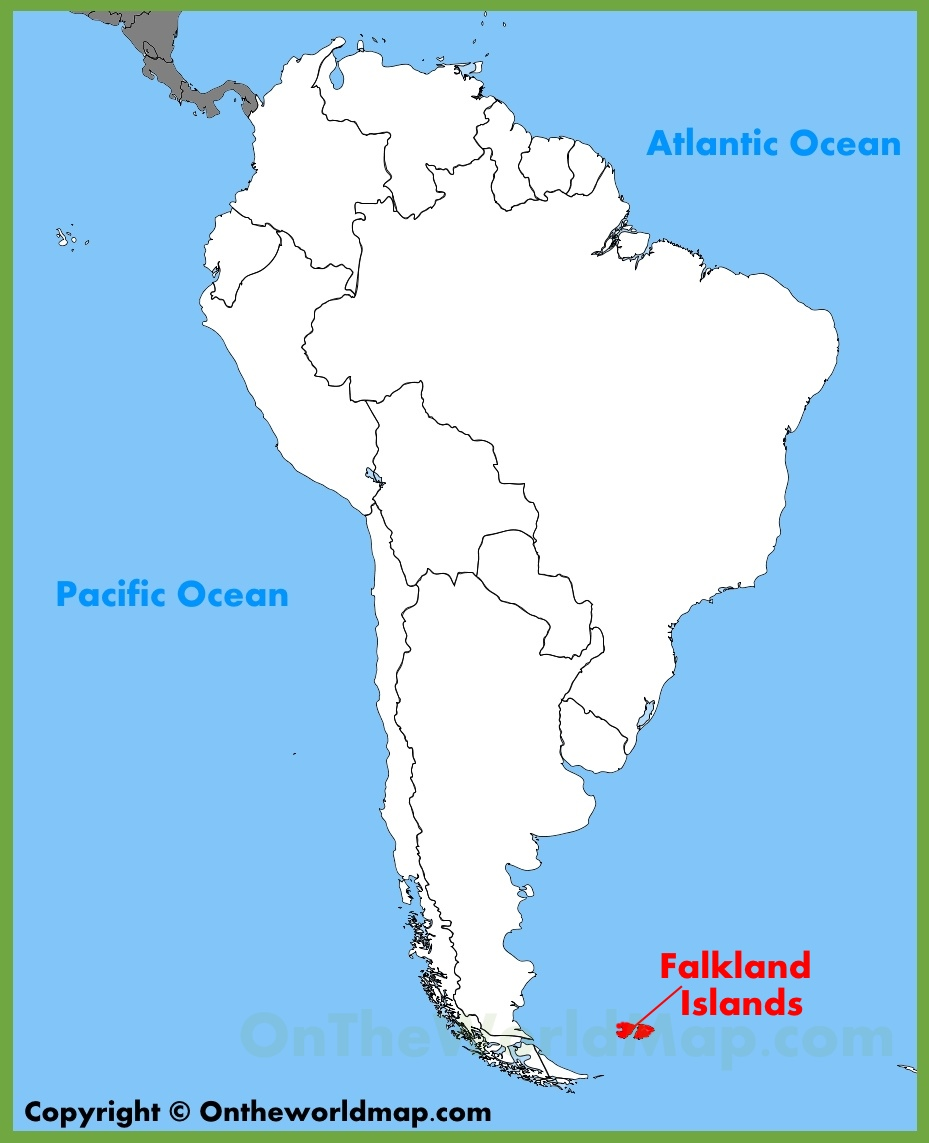 South America Islands Map Falkland Islands location on the South America map