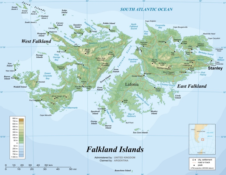 Large detailed map of Falkland Islands