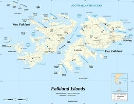 Road map of Falkland Islands