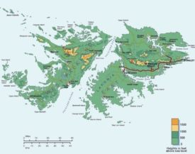 Topographic map of Falkland Islands