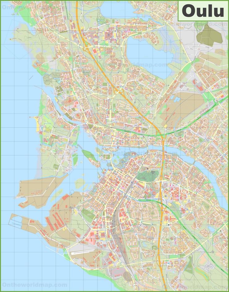 Large detailed map of Oulu
