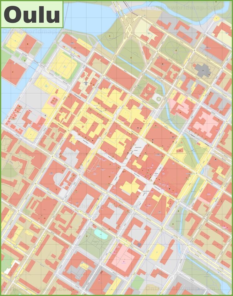 Oulu city center map