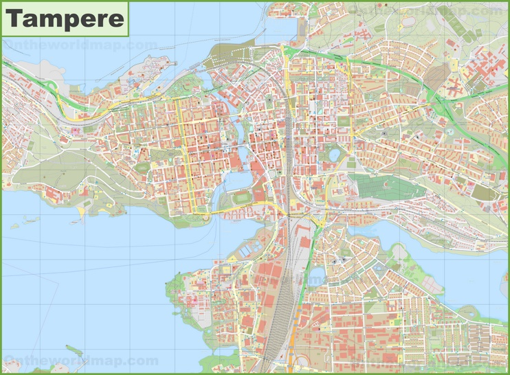 Large detailed map of Tampere