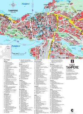 Tampere hotels and sightseeings map