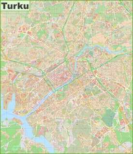 Large detailed map of Turku