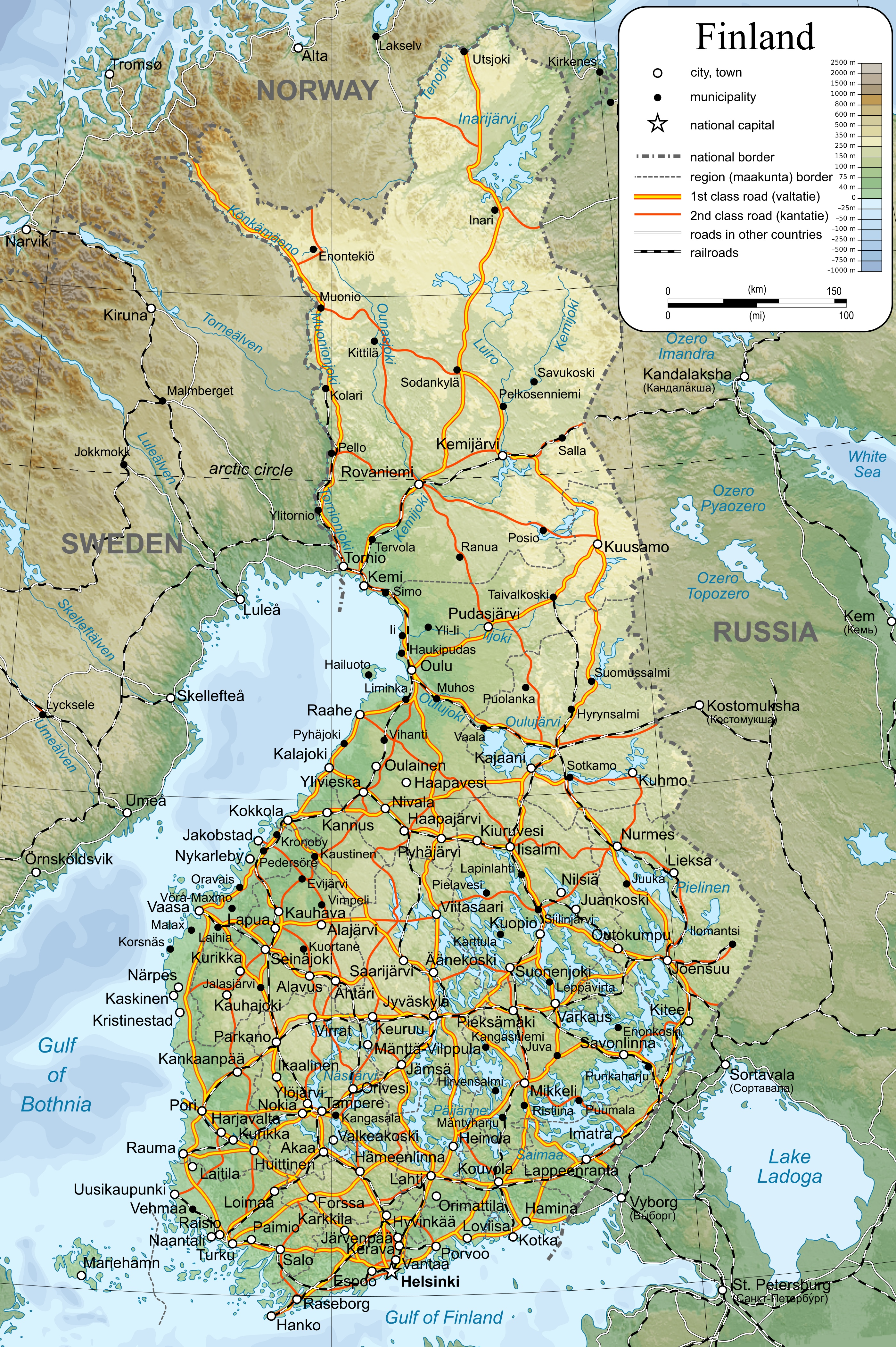 Map Of Finland Large detailed map of Finland with cities and towns Map Of Finland