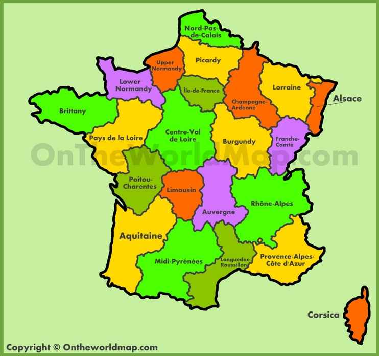 Map of old regions of France
