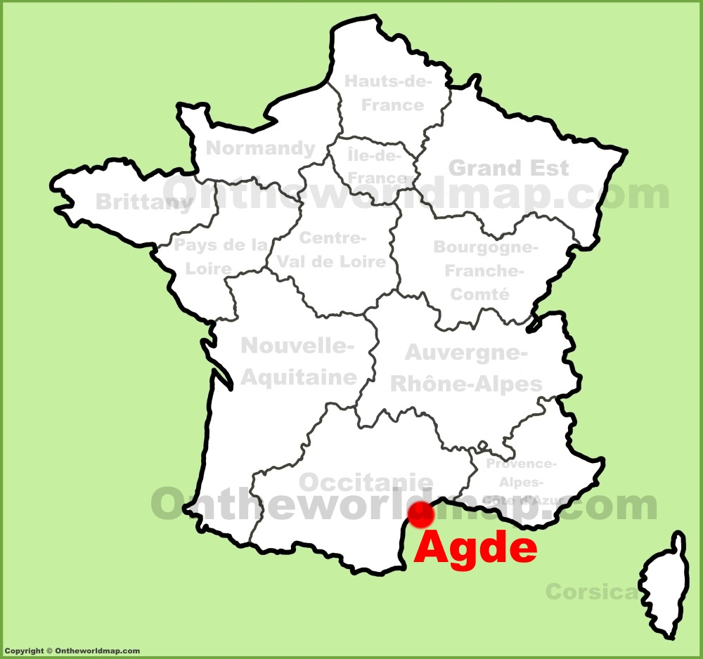 Agde location on the France map