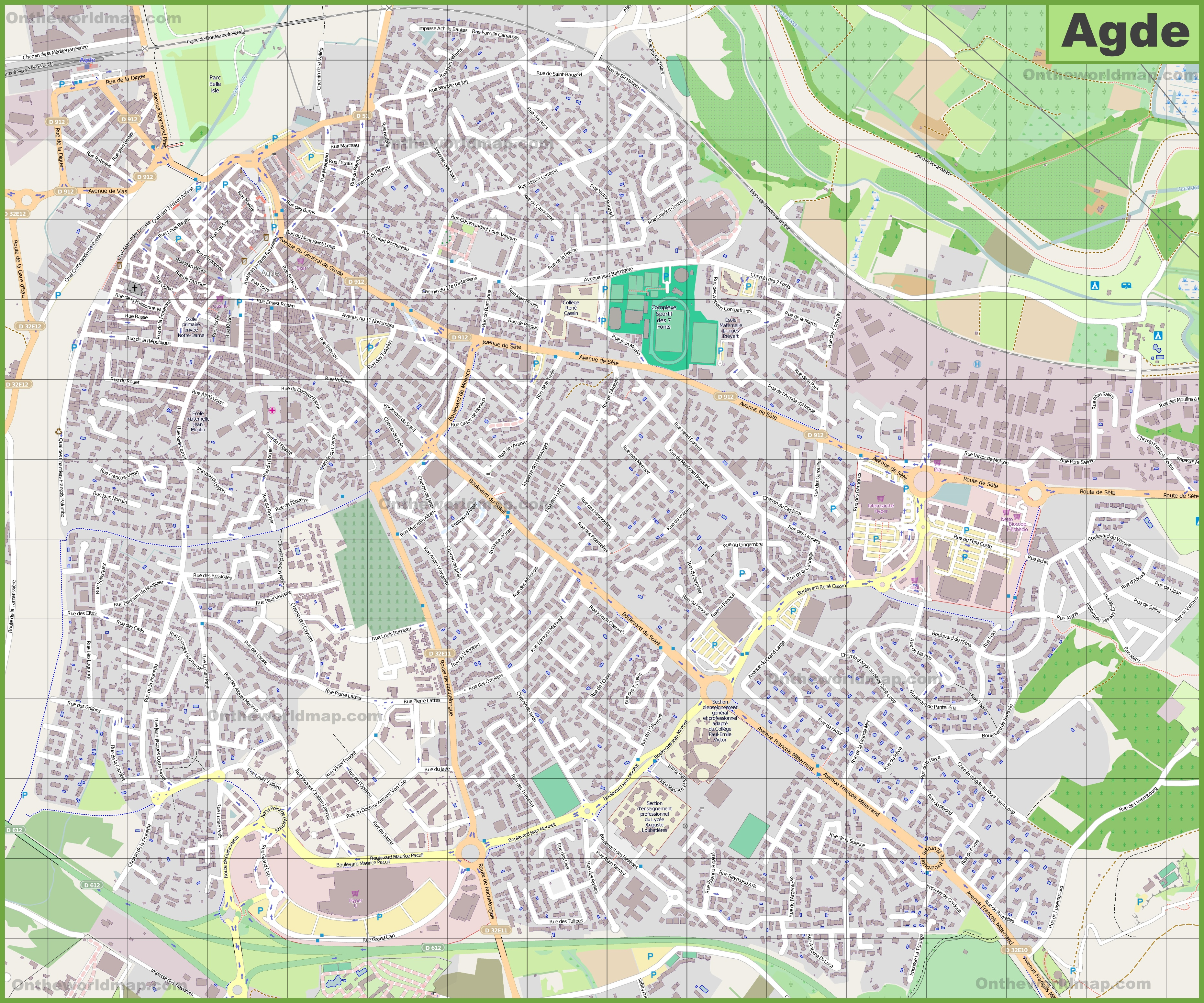 Large detailed map of Agde
