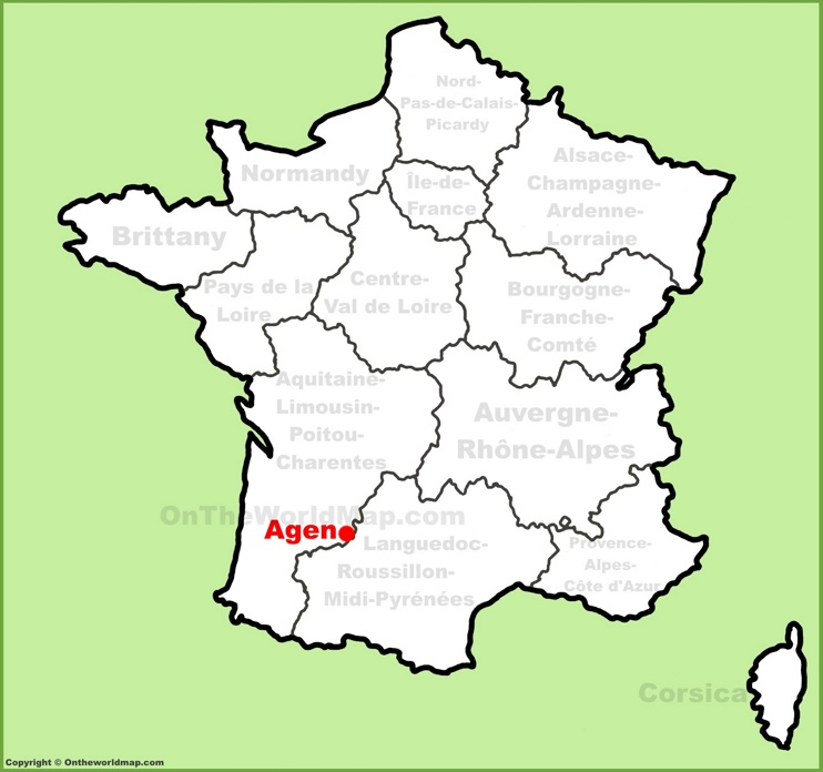 Agen location on the France map