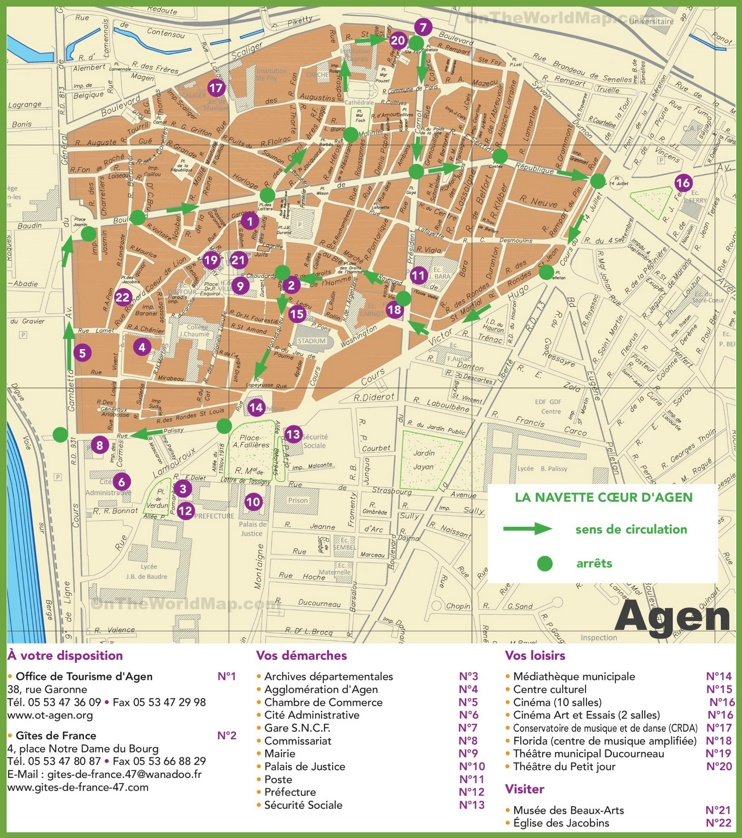 Agen tourist map