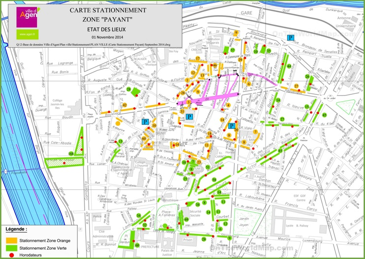 Large detailed map of Agen