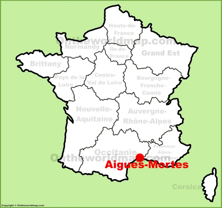 Aigues-Mortes location on the France map