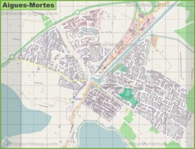 Large detailed map of Aigues-Mortes