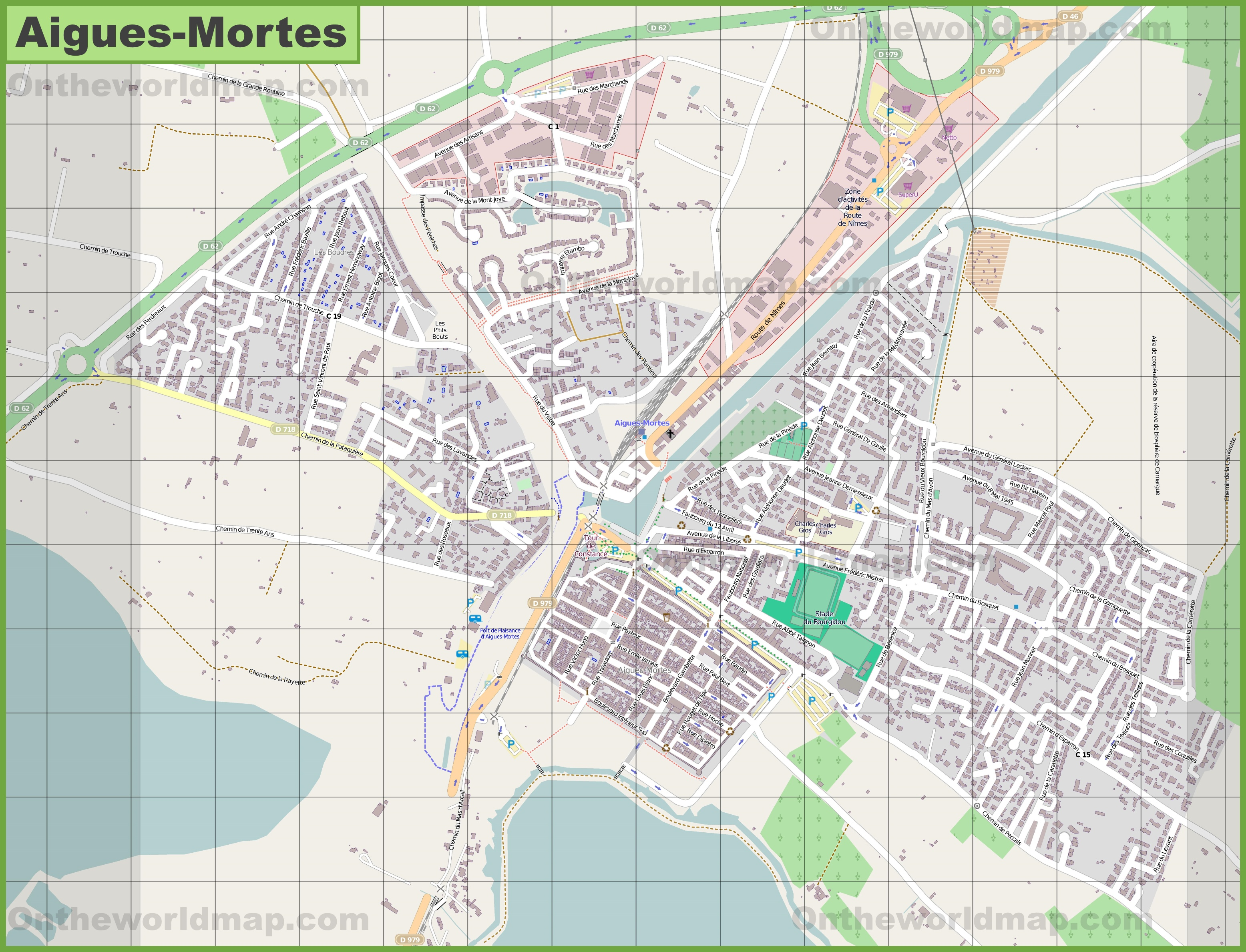Large detailed map of AiguesMortes