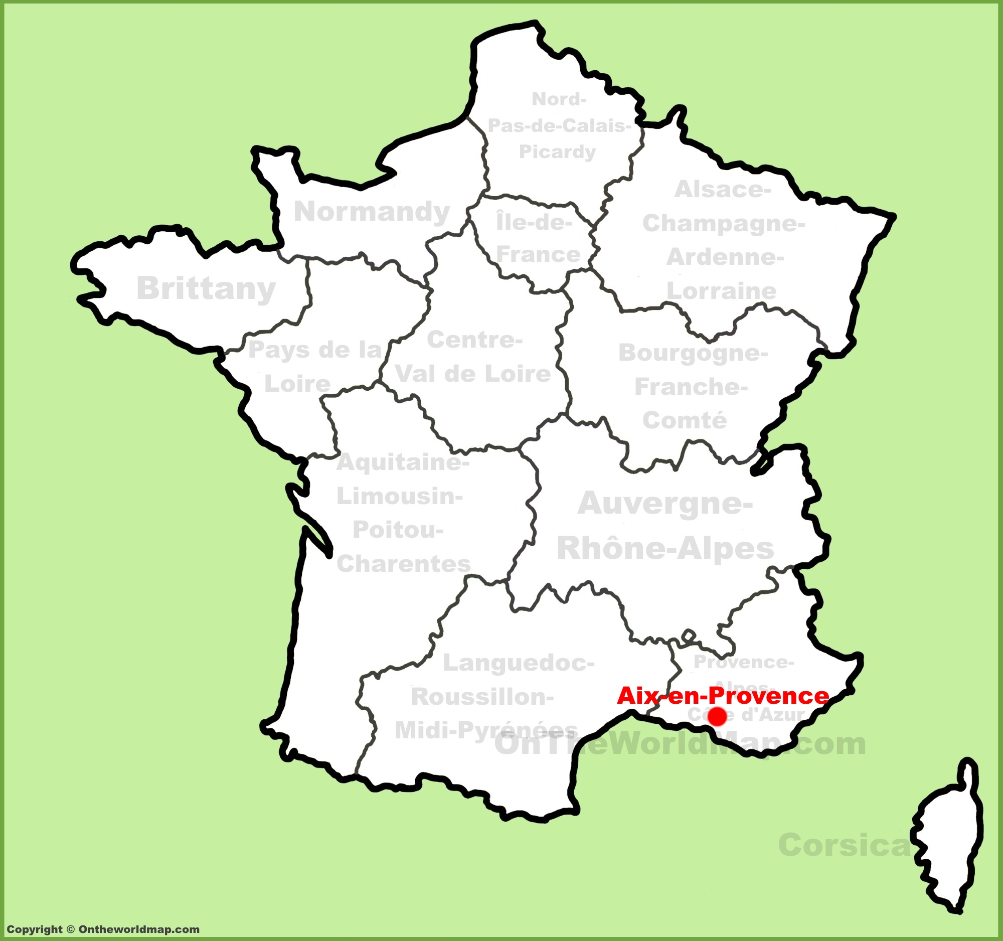 Provence Map Of France.Aix En Provence Location On The France Map