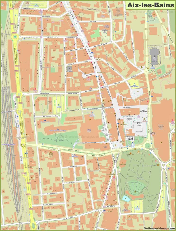Aix-les-Bains City Center Map