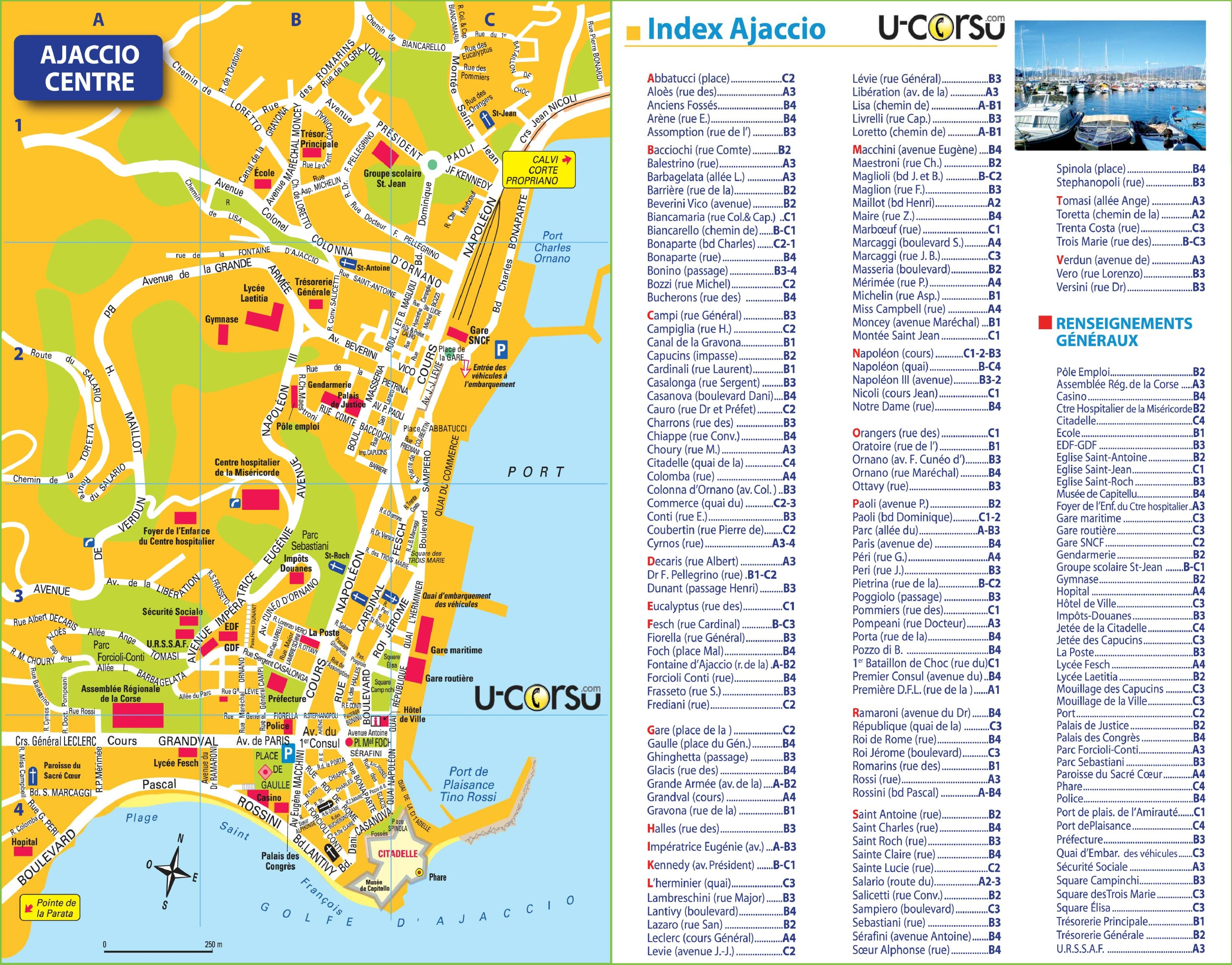 Ajaccio city center map