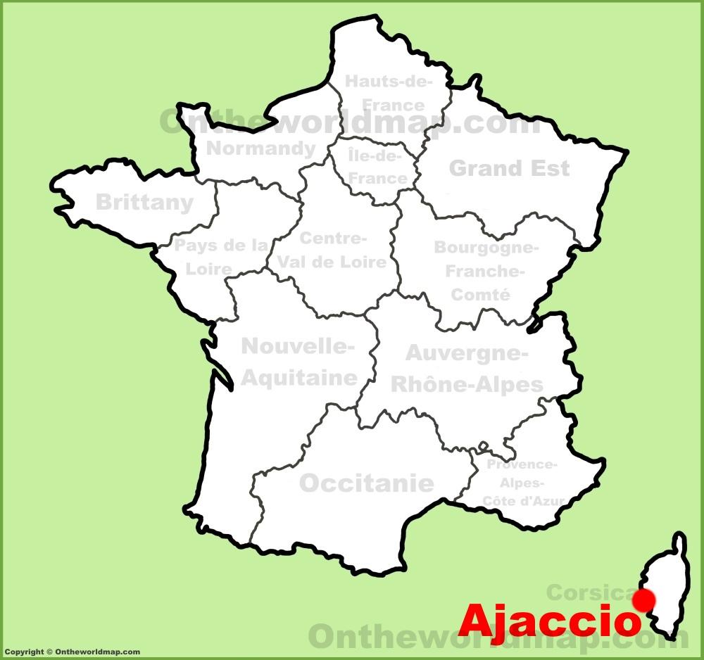 Ajaccio location on the France map