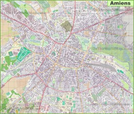 Large detailed map of Amiens