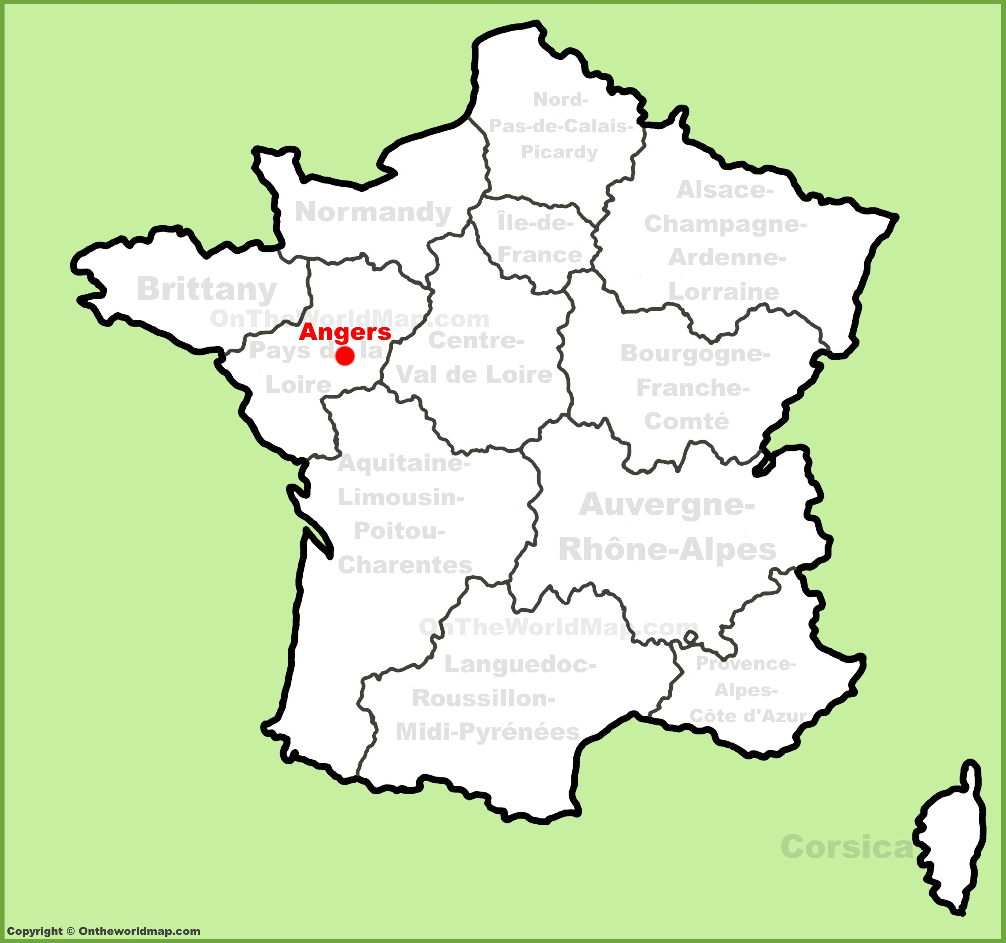 Angers location on the France map