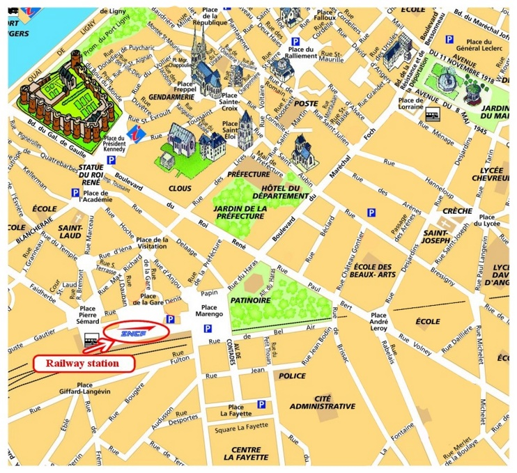 Angers sightseeing map