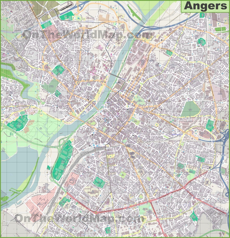 Large detailed map of Angers