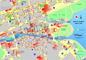 Annecy city center map