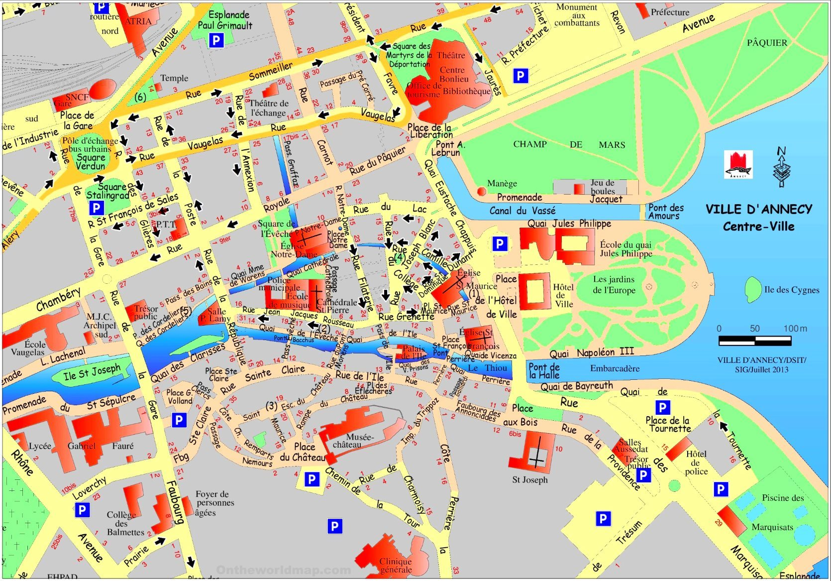 Annecy France Map Annecy city center map Annecy France Map