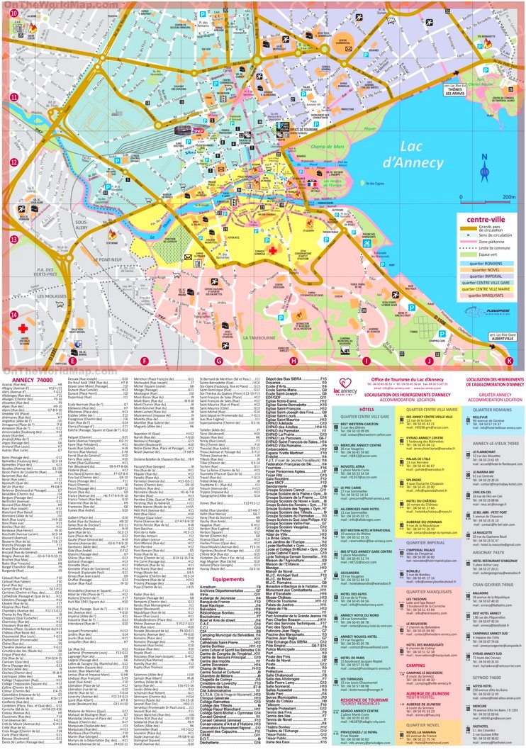 Annecy hotels and sightseeings map