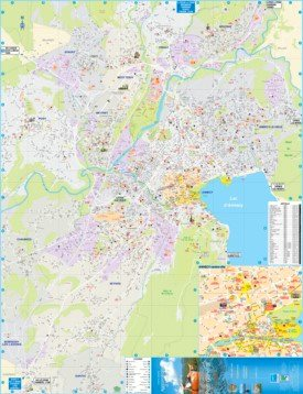Large detailed tourist map of Annecy