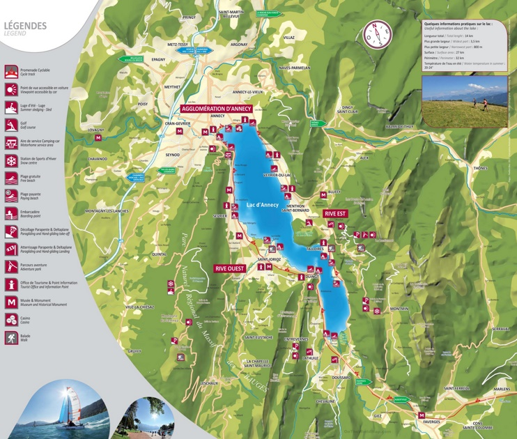 Tourist map of lake Annecy