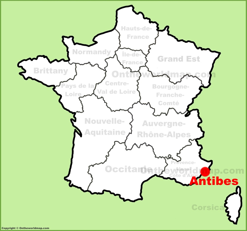 Antibes location on the France map