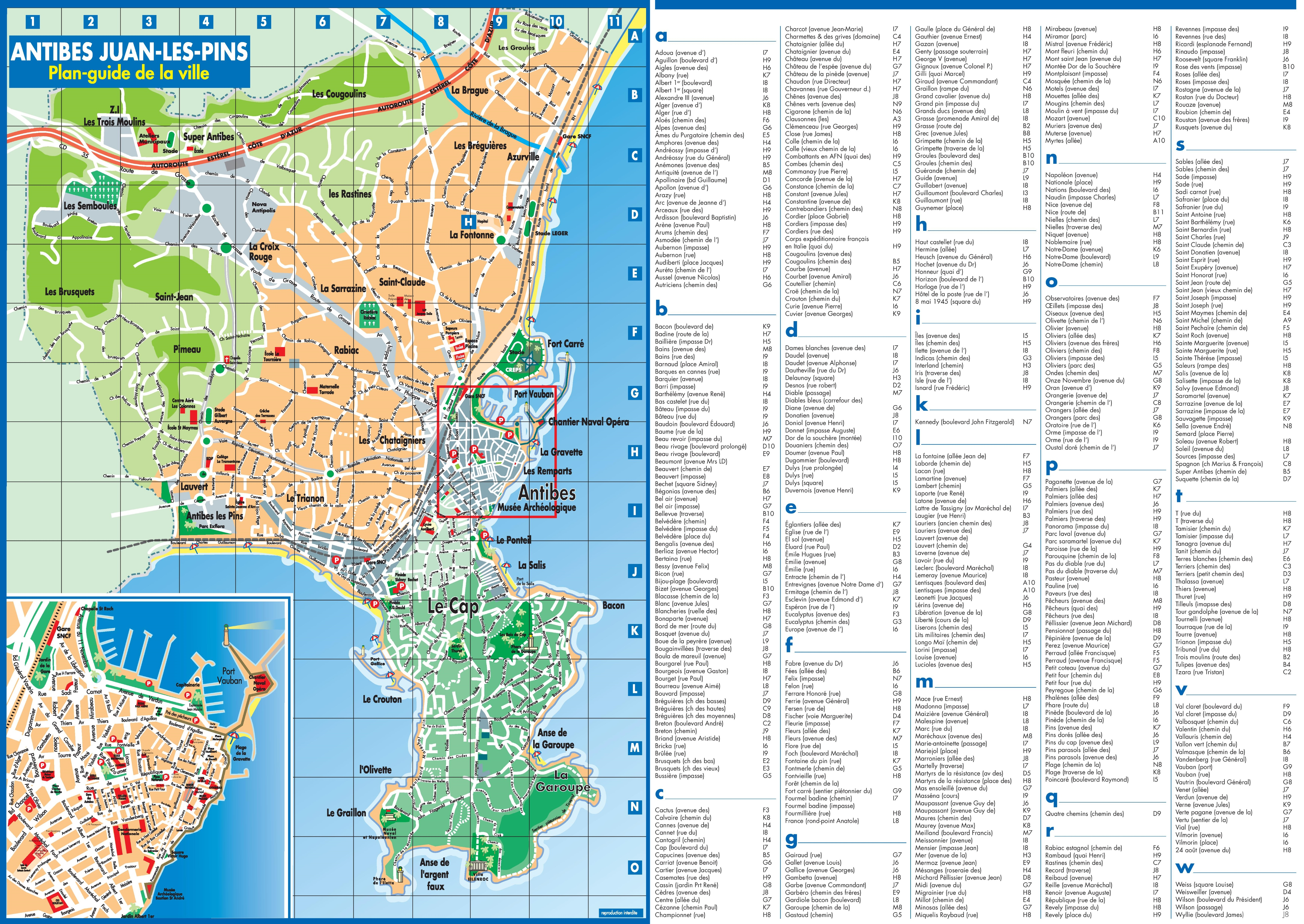 Antibes tourist map