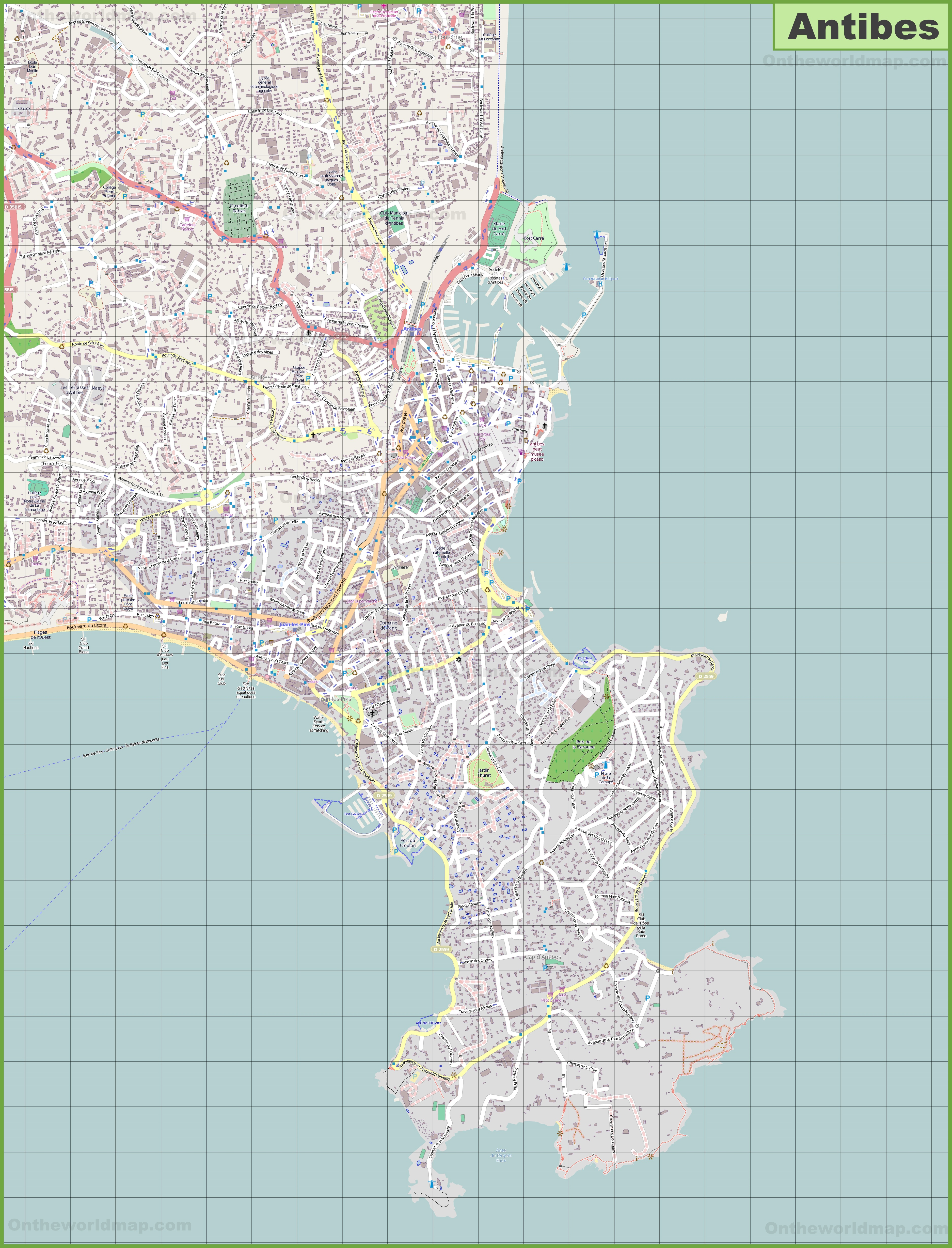 Large detailed map of Antibes
