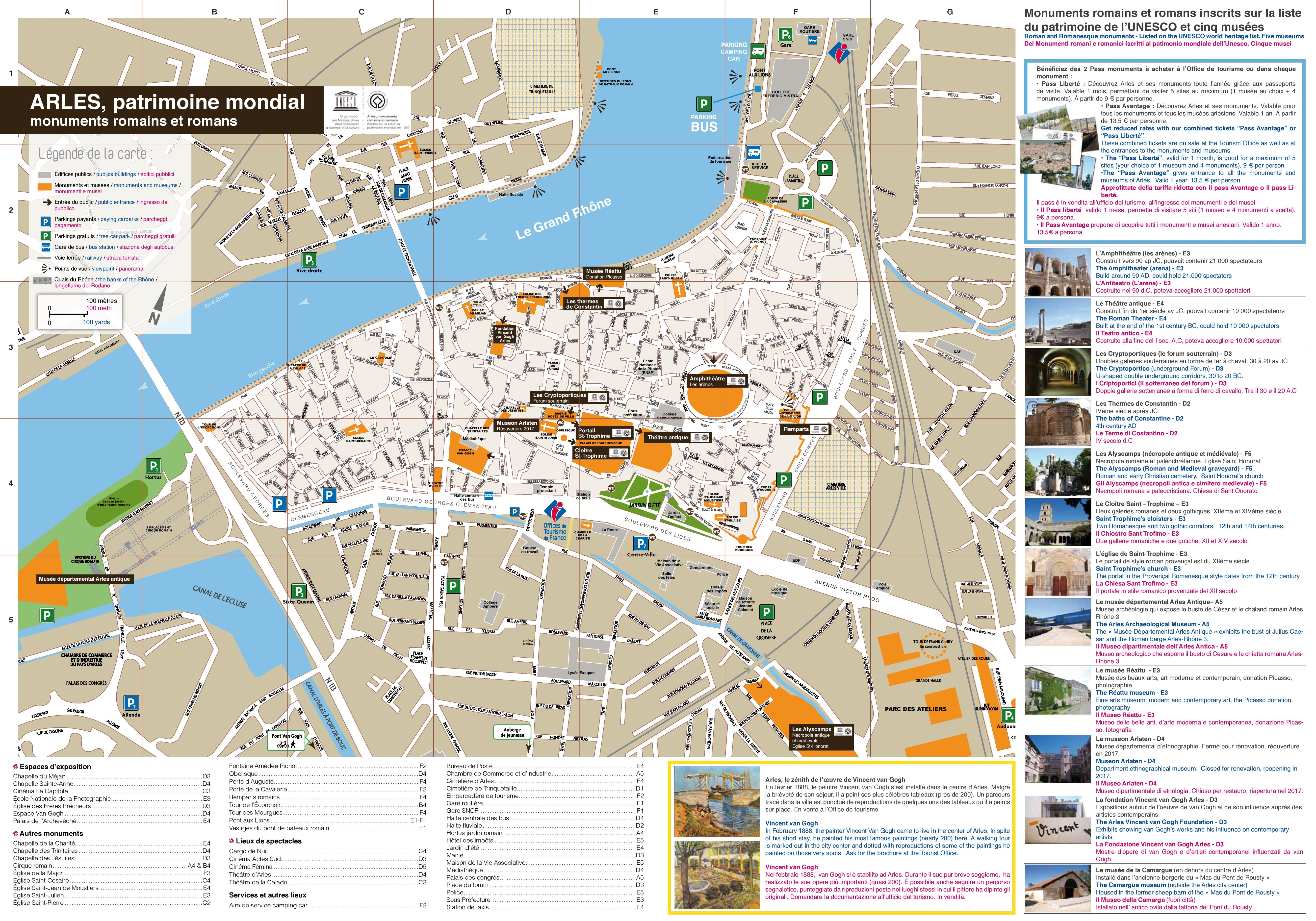 Arles sightseeing map