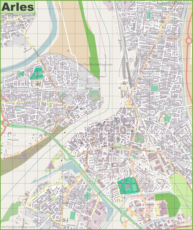 Large detailed map of Arles