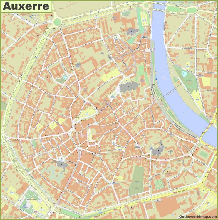 Auxerre City Center Map