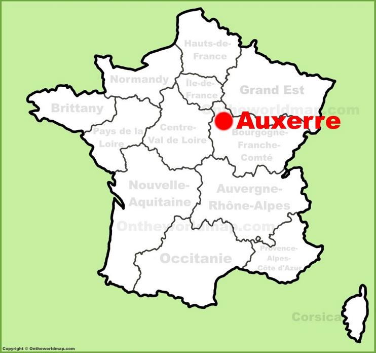 Auxerre location on the France map