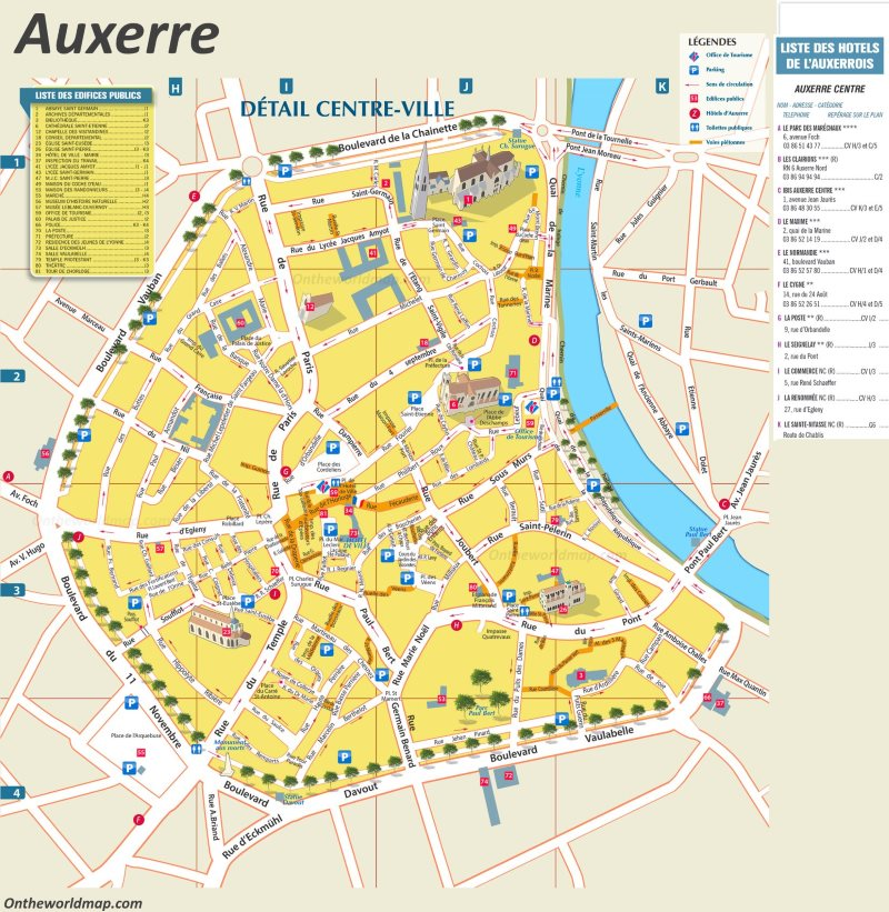 Map of Auxerre