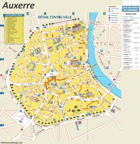 Auxerre Sightseeing Map