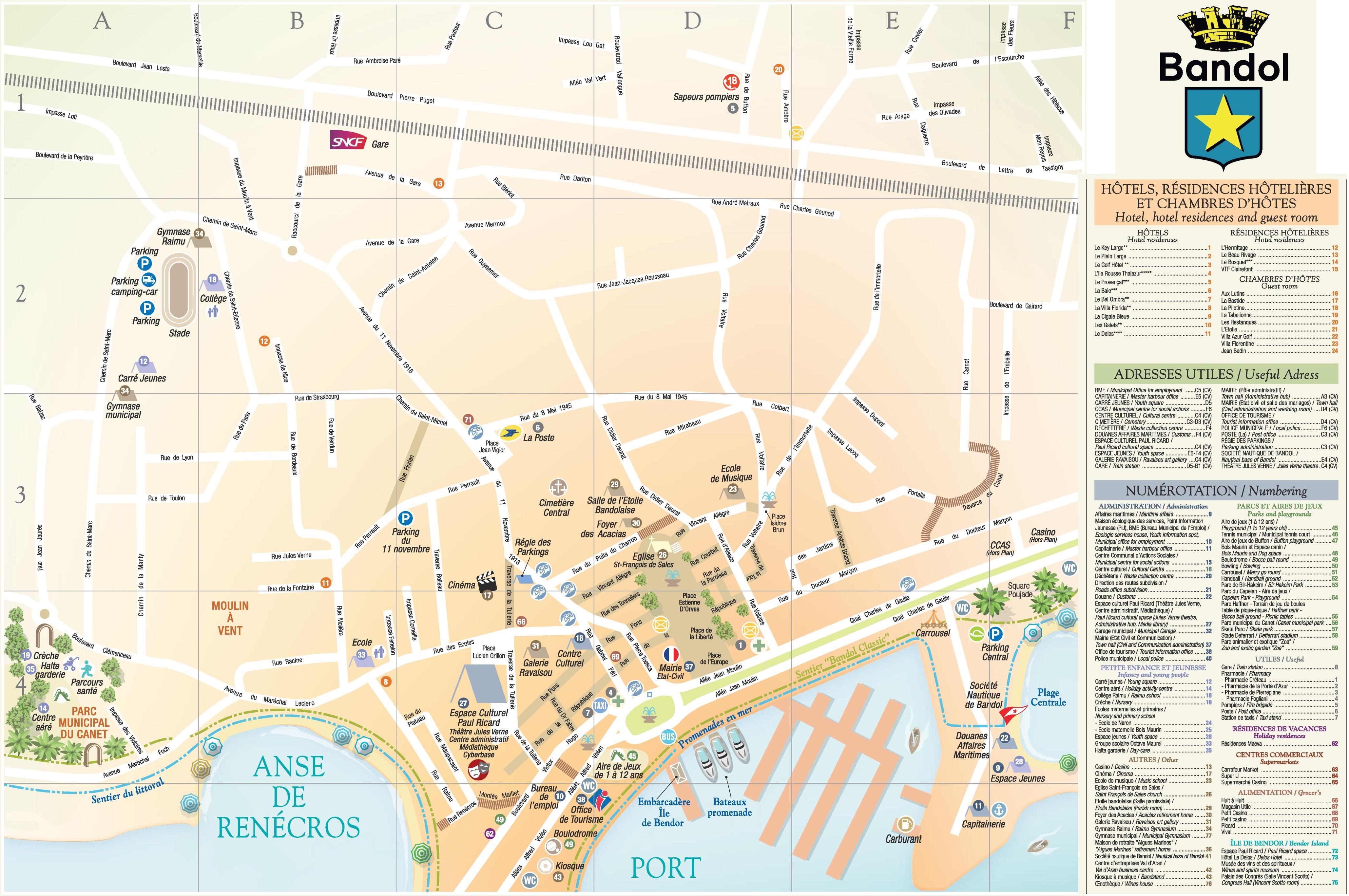 Bandol city center map