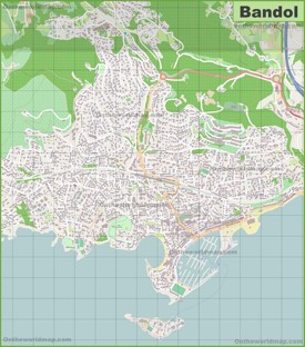 Large detailed map of Bandol