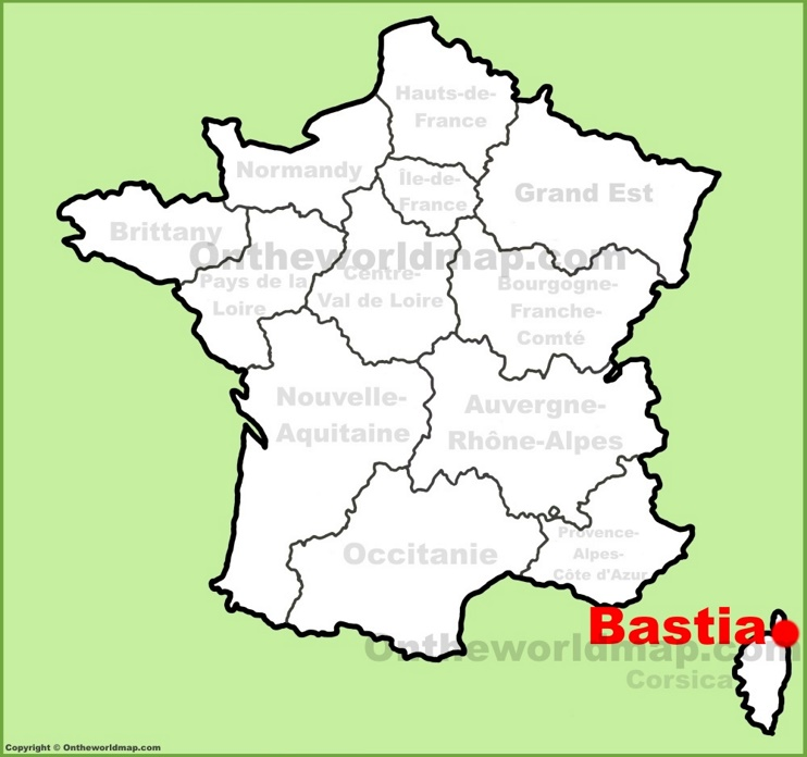 Bastia location on the France map
