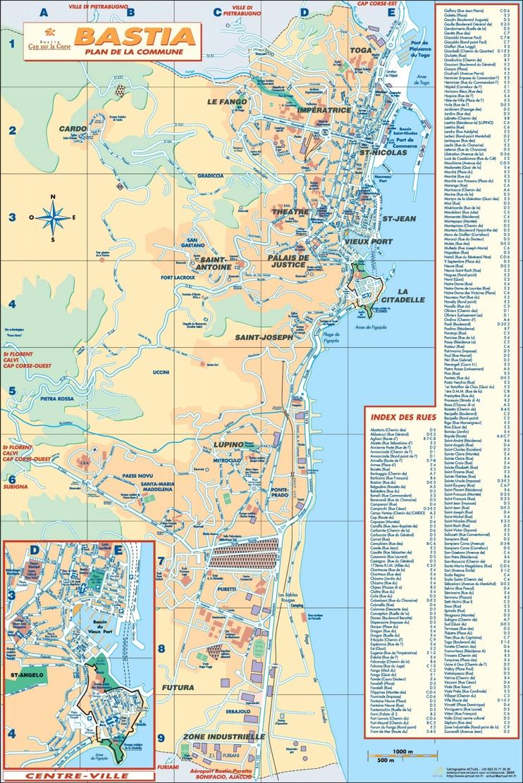 Bastia tourist map