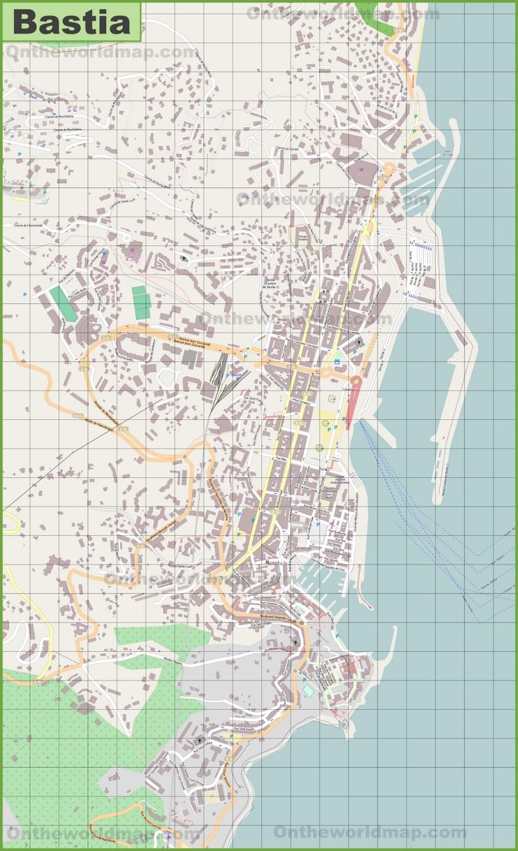 Detailed map of Bastia