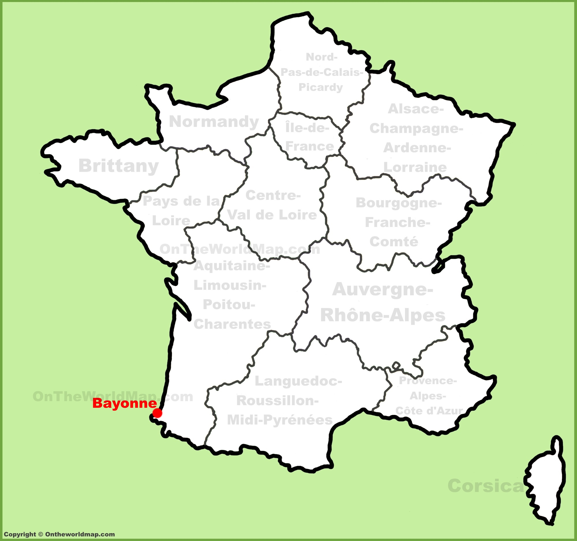 Bayonne location on the France map