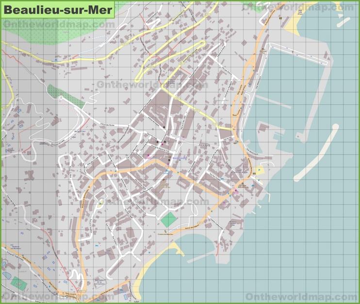 Large detailed map of Beaulieu-sur-Mer